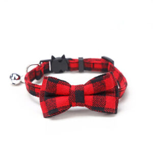 Check Plaid Cat Collar Breakaway - Bow tie Removable Kitten Silver Bell