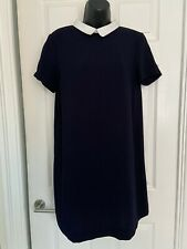 Zara Navy Blue White Collar Plain Casual Stylish Summer Dress Size 10-12