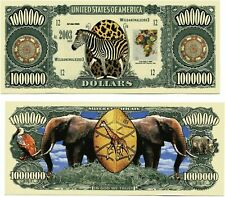 Safari ~ Zebra & Elephant Million Dollar Funny Money Novelty Note + FREE SLEEVE