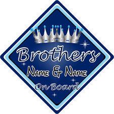 Personalizado De Niño/Bebé A Bordo Coche Firmar ~ Brothers On Board ~ D. Azul