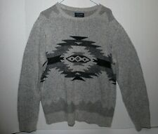 Lucky Brand Pendleton mens Crew Sweater Large Aztec Tribal in Grey Rare