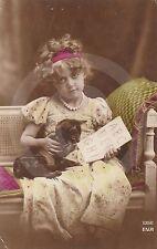 1920 RPPC of GIRL TEACHING KITTEN THE ABC's Postcard REAL PHOTO Photograph CAT