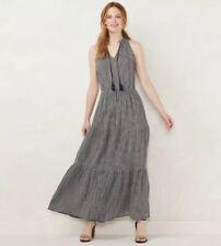 Lauren Conrad navy & white gingham halter maxi dress XS NWT $68