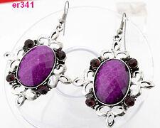 1pair Tibetan Silver exquisite Crystal Beaded dangle dragon Earring PURPLE 341
