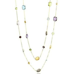 14K Yellow Gold Fancy Cut Faceted Multi Colored Gemstone Necklace 32 Inches