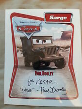 PAUL DOOLEY SIGNED DISNEY CARS 8X10 SARGE PHOTO