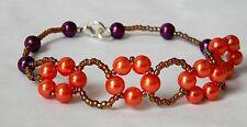 "Full Figured Faith Hope Love & Charity"" Pearl Bracelet in Autumn Colors USA MADE"