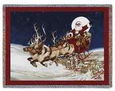 SANTA SLEIGH FLYING REINDEER MERRY CHRISTMAS ALL TAPESTRY THROW BLANKET 70x53
