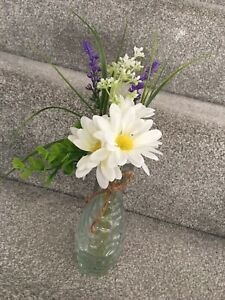 NEW Artificial Daisy & Lavender Floral Flower In Textured Glass Vase HOME
