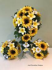 Artificial Wedding Bouquet Set - Sunflowers and Frangipani - Bouquets - Bridal