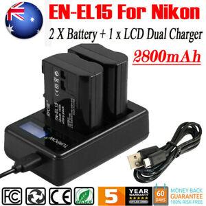 2× 2800mAh EN-EL15 Battery +USB Dual Charger for Nikon D750 D800 D7000 D7100 NEW