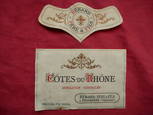Ancienne étiquette de vin COTE DU RHONE 1964 BERARD  old french wine label