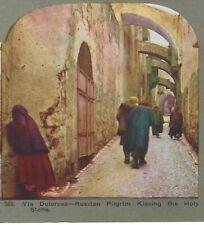 Russian Pilgrim Kissing Wall of Via Delorosa, 1904 Stereoview Card