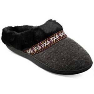 ISOTONER Size M 8 Heathered Knit Micah Slippers Black Charcoal Gray NWT