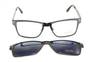 TOM FORD FT5475 12V Men Square Metal Eyeglasses GREY + CLIP ON BLUE SUNGLASSES!!