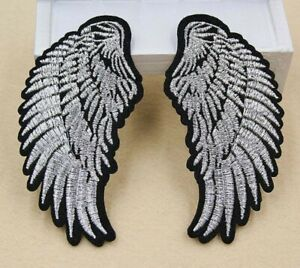 Angel Wings Pair Iron-On Patch : Set Wing Two 2 Mirror Mirrored Silver Shiny
