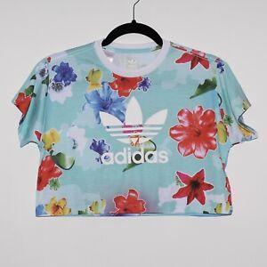 Girls ADIDAS 9-10 Years Casual Light Blue Floral Crop Short Sleeve T-Shirt Top