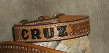 "Custom 3/4"" Leather Dog Collar Personalized With Your Dogs Name Hand Tooled. G&E"