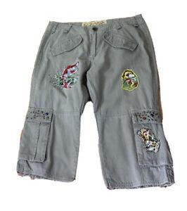 Ed Harry Size 28 Mens Cargo Dept Vintage Tattoo Twill Shorts Knee Lgth Khaki Gre