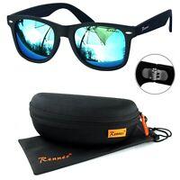 Rennec Sonnenbrille Nerd Retro Schwarz Matt Türkis Verspiegelt 12X Brillenbox