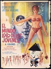 533 EL MUNDO LOCO DE LOS JOVENES Mexican poster '67 artwork of many sexy girls!