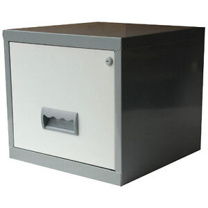 Pierre Henry Maxi desktop single drawer A4 filing cabinet - White and silver
