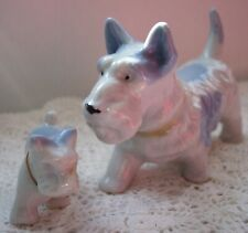New listing #135 Norwich Cairn Westie Terriers Mom & Pup Dog Figurines Blue & White Bone