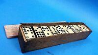 Antique Black Wood & Bone 1800's English Dominoes Full Set of 55 In Wooden Box