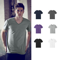 Anvil V-Neck Short Sleeve T-Shirt Combed Ring Spun Cotton Soft Casual Tee 982