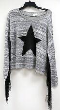 VOLCOM Black Cream Sweater Fringe Star Small P 10 $62 NWT  2e