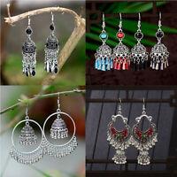 Retro Indian Earrings Pearl Pendant Jhumka Drop Ear Stud Wedding Dangle Jewelry