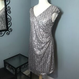 Dorothy Perkins 18 - Silver Sequinned Rouched Side Cocktail Dress Party Faux Wra