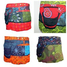 Cotton Gypsy Skirt Wrap Pocket Pixie Style Mini Short Poppers Indian Print Psy