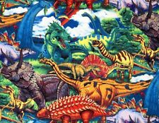 FAT QUARTER  DINOSAURS  PREHISTORIC  FABRIC JURASSIC COLORFUL DAVID TEXTILES  FQ