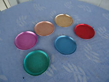 6 vintage retro  anodised aluminium harlequin picnic coasters for cups