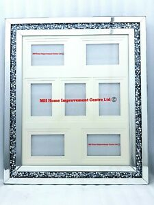 Diamond Crush Crystal Sparkly 7 Picture Photo Wall Frame Silver Mirrored Glitz