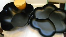 Tupperware Lg Chip N Dip Open House Serving Bowl, Divided Cover Black/Speckles