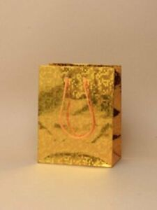 Medium gift bags in gold holographic foil with handles (12 pack)