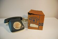 C132 Vintage Retro Phone FEUER NOTRUF germany LUXE EN CUIR leather GRIS BLEU
