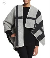Auth NWT BURBERRY BRIT Wool- Blend Check Cape $1495., White