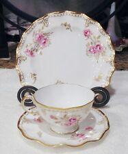 3 Pc. Royal Crown Derby Royal Pinxton Roses A1155 Tea Cup ~ Saucer ~ Dessert Pla