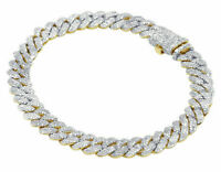 "Mens 14K Yellow Gold Over 20.00 Ct Diamond Miami Cuban Link Bracelet 8"""