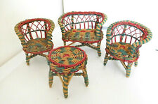 """Vintage 1950's 4 Piece Colorful Wicker Set for 8""""-10"""" Dolls, Chairs, Couch,Table"""