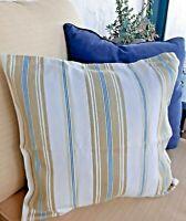 "Pottery Barn Pillow Cover Stripe Cotton Blue White Khaki 18"" Accent Pillow"