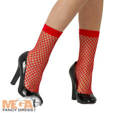 Fishnet Socks - Ladies Fancy Dress Accessory Red Short Stockings Adults Costume