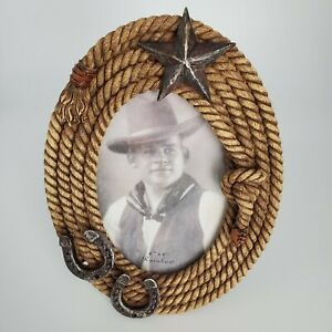 Rainbow Inc Picture Frame for 4 x 6 Photo Rope and Horseshoe Western Design