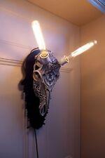 DEER STAG TROPHY SKULL WALL LIGHT ART HANDMADE HANDCRAFTED 2X BULB inc.ANTLERS