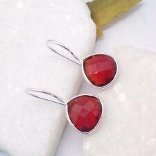 Granat rot Tropfen Design Hänger Ohrringe Ohrhänger 925 Sterling Silber neu
