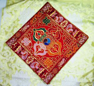 "BRIGHT RED & GOLD DOUBLE DORJE 9""x9"" BROCADE ALTAR CLOTH TIBETAN BUDDHIST NEPAL"