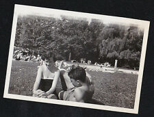 Antique Photograph Sexy Man & Woman in Bathing Suits on Ground by Pool